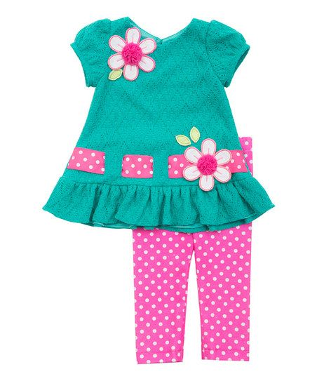 Rare Editions Pink & Teal Flower Tunic & Leggings - Infant | zulily