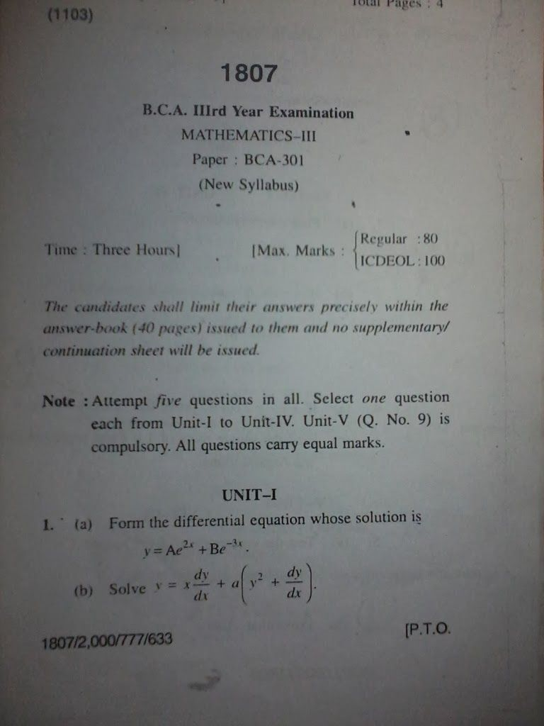 BCA Exam Question Paper: Mathematics Question Paper BCA Himachal