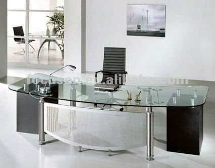 FKS-HD-ED024 Modern glass top office desk | 3-OFFICE DESIGN ...
