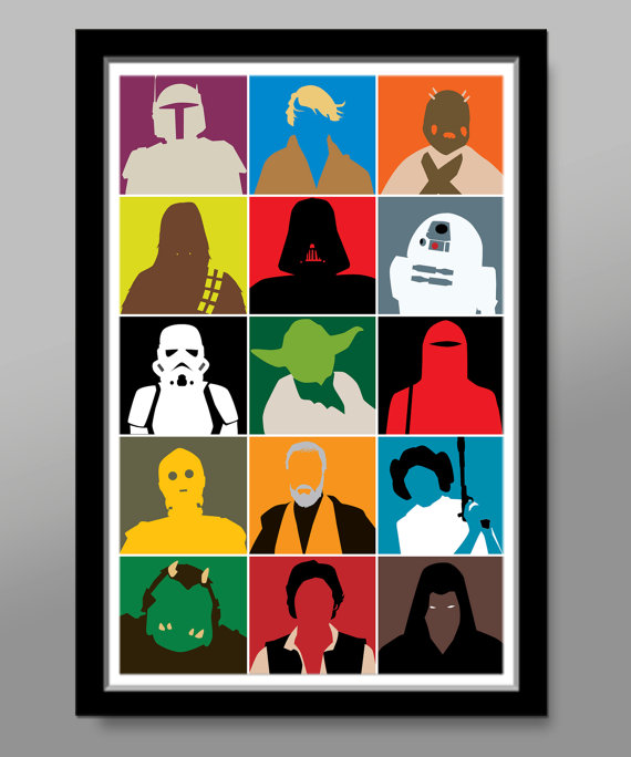 star wars characters inspired minimalist movie poster. Black Bedroom Furniture Sets. Home Design Ideas