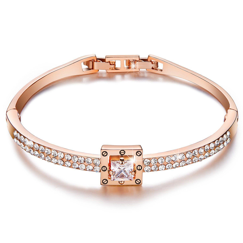 Menton ezil princess crystal bracelet rose gold luxury jewelry