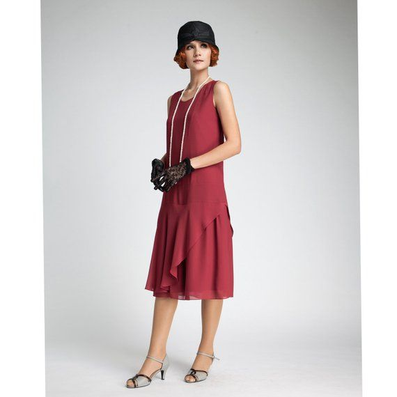 80e4d3eff27d9 1920s flapper dress in maroon with a ruffled skirt detail, Great Gatsby  dress, red