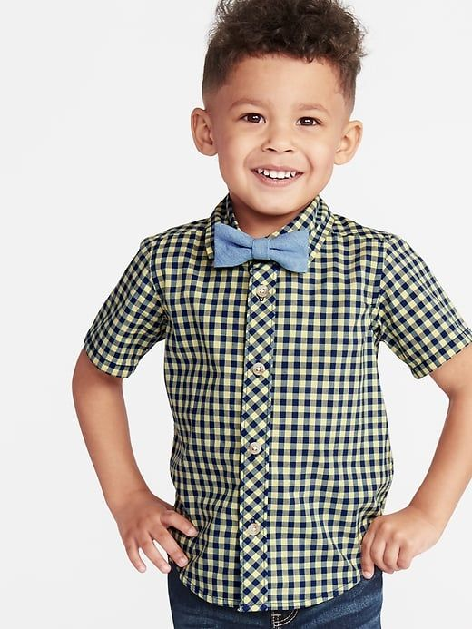 c0af4d66719a Old Navy Toddlers' Built-In Flex Gingham Shirt & Chambray Bow-Tie Set  Confetti Size 18-24 M