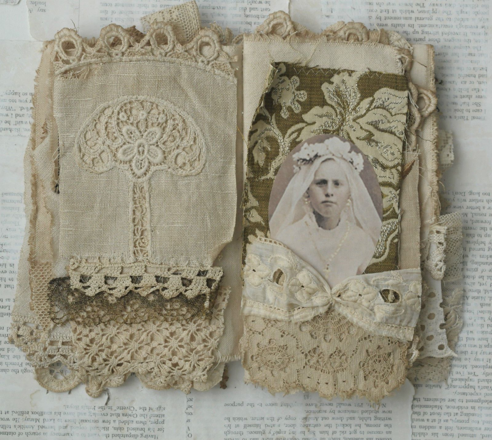 Mixed media fabric collage book of girls in heavenly white