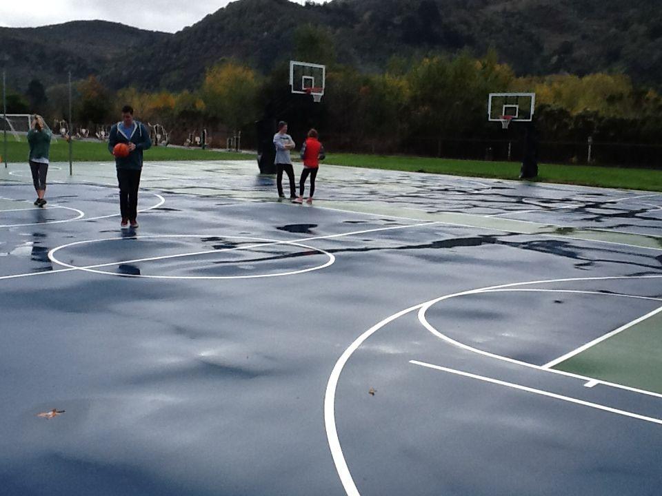 wet basketball court