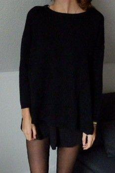 d8a440c0bcf8 Schwarzer Strickpulli  hoodie  black  tumblr  ootd  fall  outfit  cute