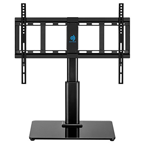 Huanuo Tabletop Swivel Tv Stand Fits 32 To 60 Lcd Led Inch Television With Heavy Duty Tempered Glass Base 4 Level Height Adjustments Vesa Compatible Up To 600