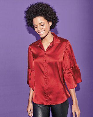 c0074203e Finley Designer Naomi Satin Button-Front Shirt | Avivey (Style Lives ...