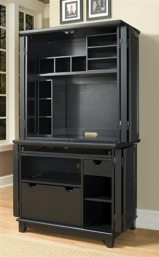 Exceptionnel Arts And Crafts Compact Computer Cabinet W Hutch In Black