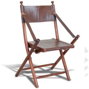 Teak And Leather Tarlton Chair Folding Chair Colonial Chair Leather Chair