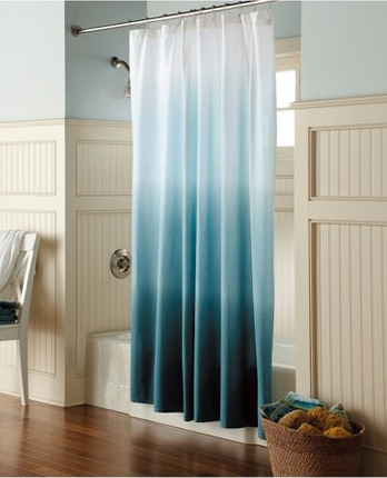 Ocean Blue Shower Curtain Like To Try This Dip Dyed On Muslin Or Drop Cloth Curtains