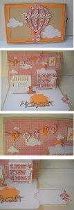 Carte de Félicitations pop up « chambre » pour une adorable petite fille