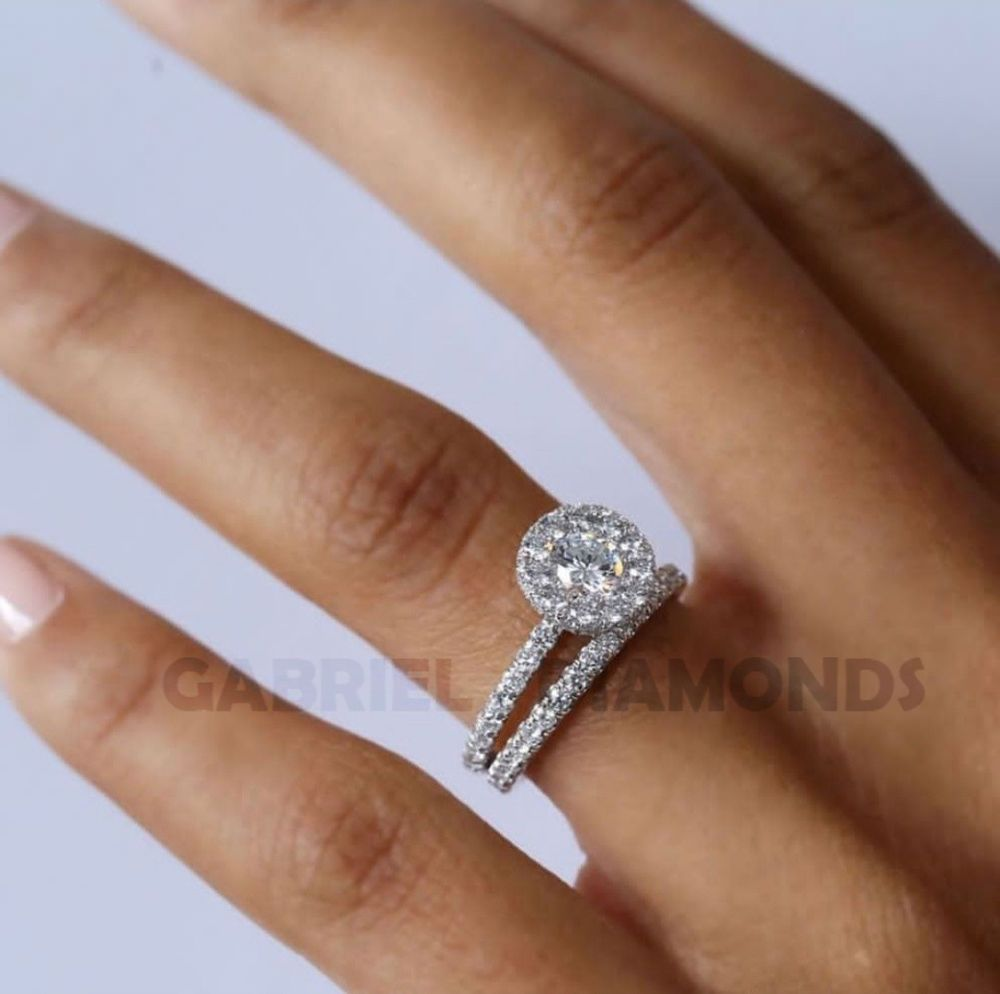 869e17d42 2Ct D/VVS1 Round-Cut Diamond Pave Bridal Set Engagement Ring 14k White Gold  Over #gabrieldiamond #SolitairewithAccents