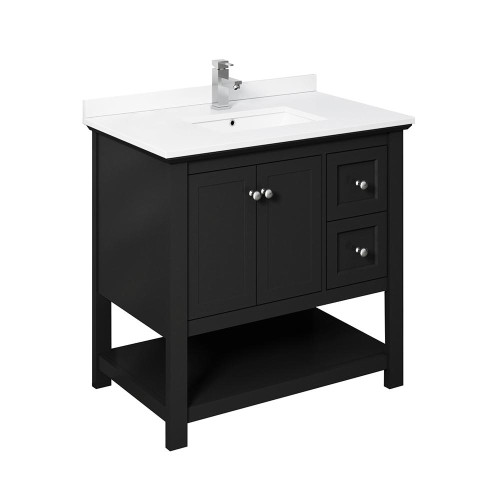 Fresca Manchester 36 In W Bathroom Vanity In Black With Ceramic Vanity Top In White With White Basin Fcb2336bl Cwh U Traditional Bathroom Traditional Bathroom Cabinets Traditional Bathroom Mirrors