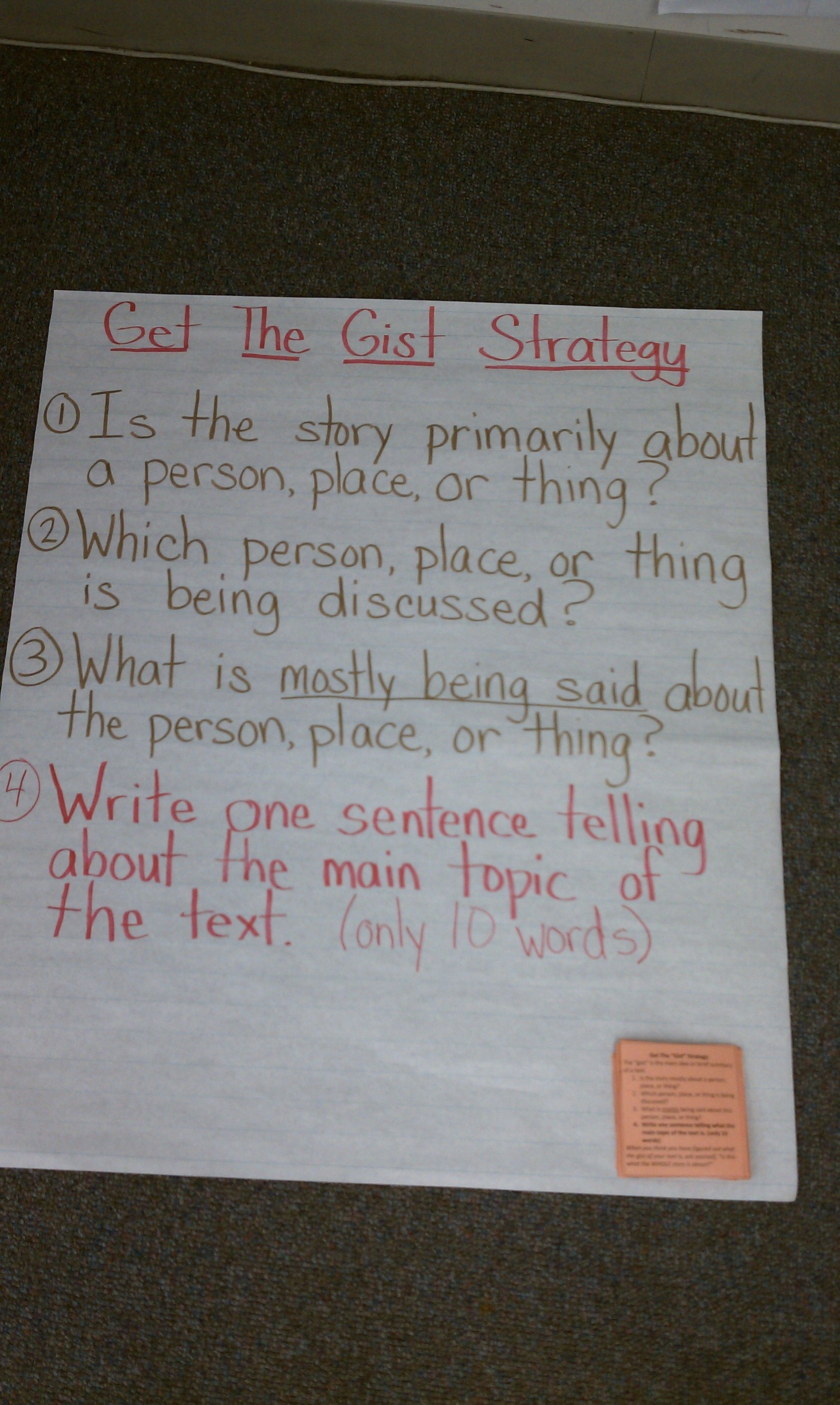 Get The Gist Another Reading Strategy For Engaging In
