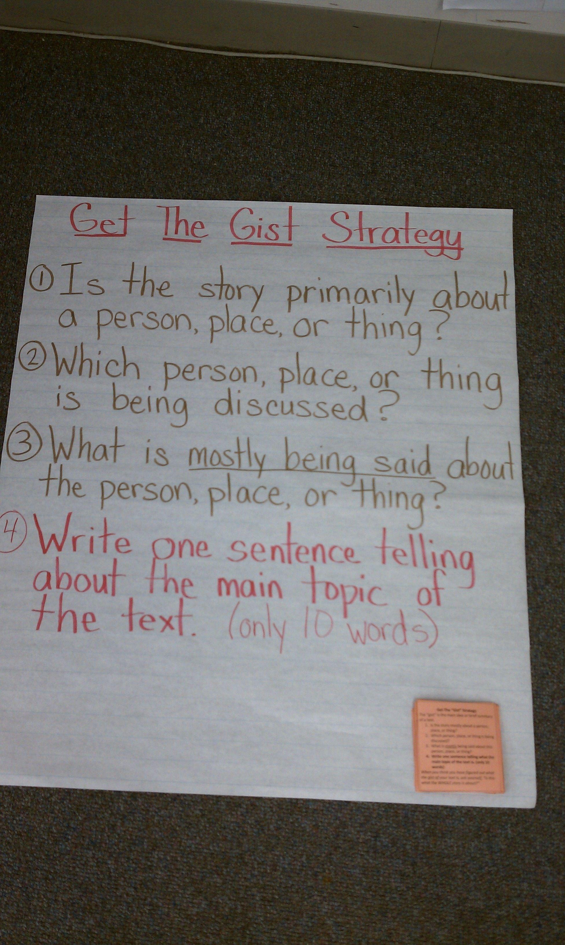 Gist Strategy Worksheet