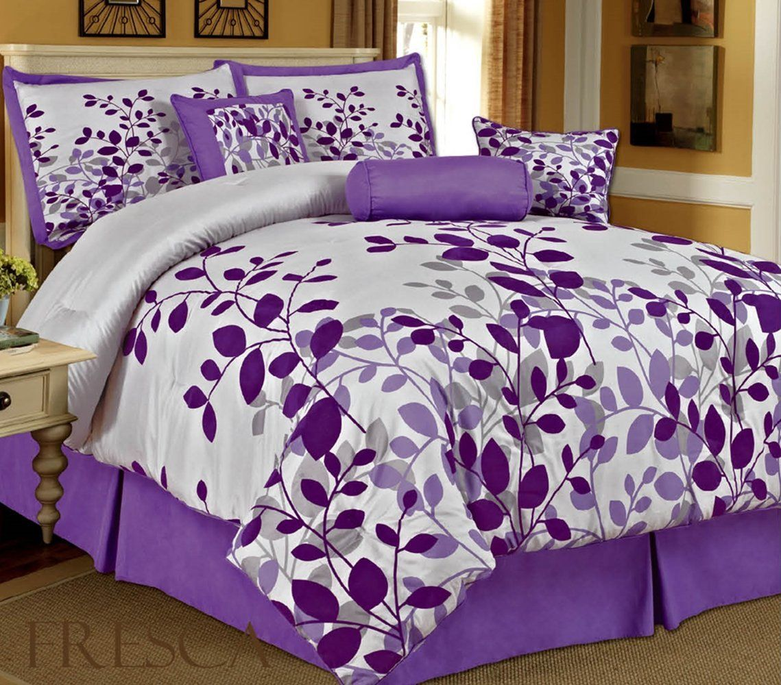 Bednlinens 7 piece queen fresca purple leaves bedding comforter set home kitchen Queen size bed and mattress set