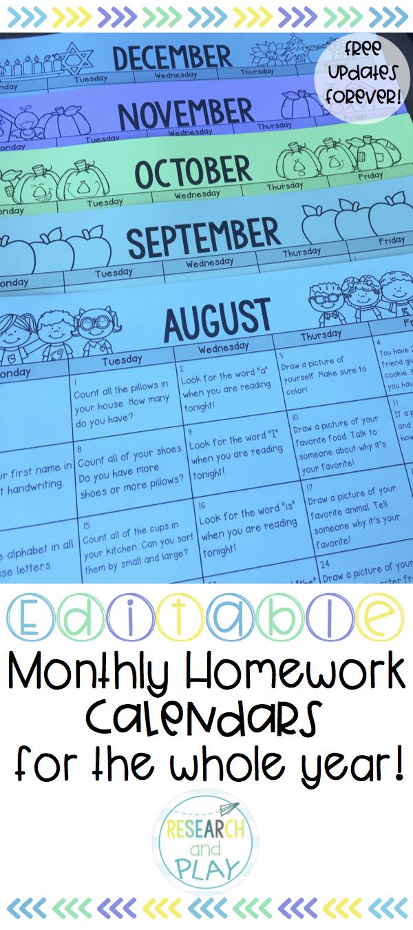EDITABLE Kindergarten Monthly Homework Calendars | Homework calendar ...