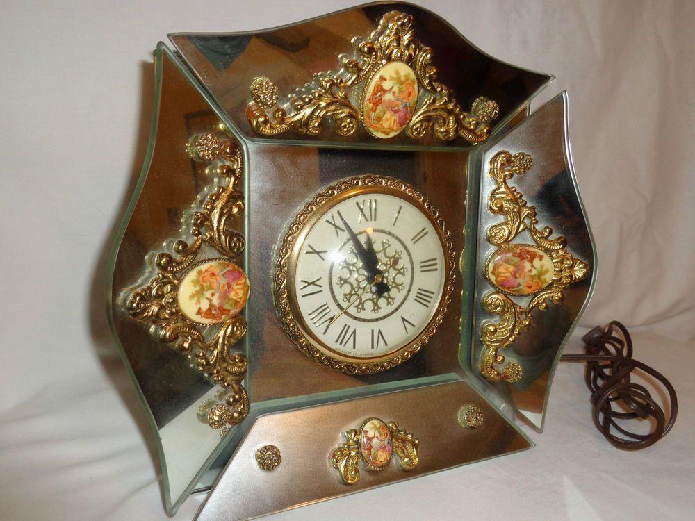 Lanshire Movement Clock Hollywood Regency Romantic Mirror Panels 3 Dimensional