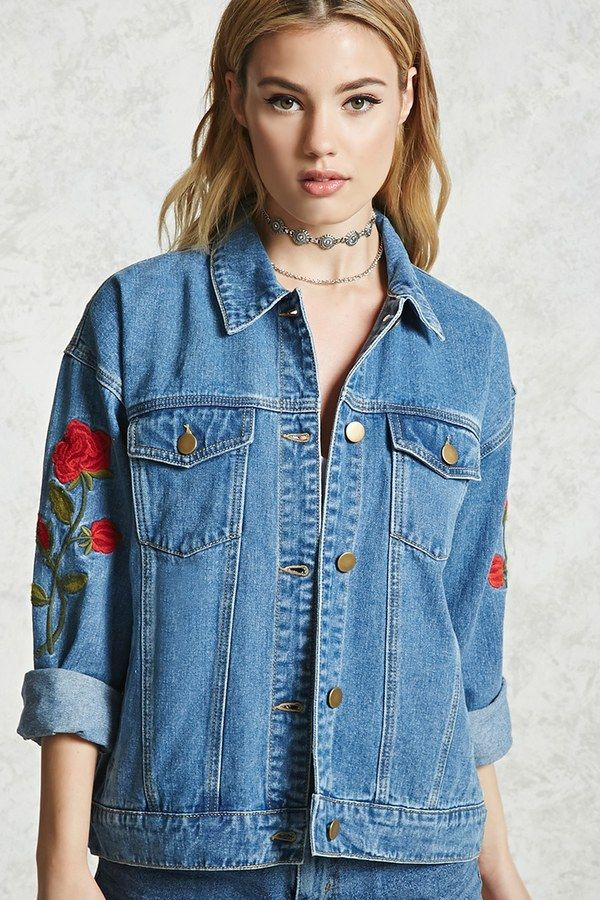 Forever 21 Rose Embroidered Denim Jacket Outerwear Pinterest
