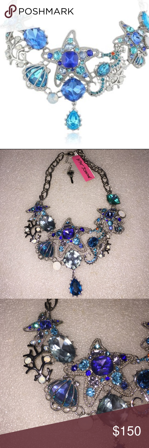 Betsey Johnson necklace Selling to buy Betsey pieces I need. This is from the nautical collection. The gorgeous necklace is silver tone. The charms include starfish,clams,seahorse, and large stones. Nwt Betsey Johnson Jewelry Necklaces