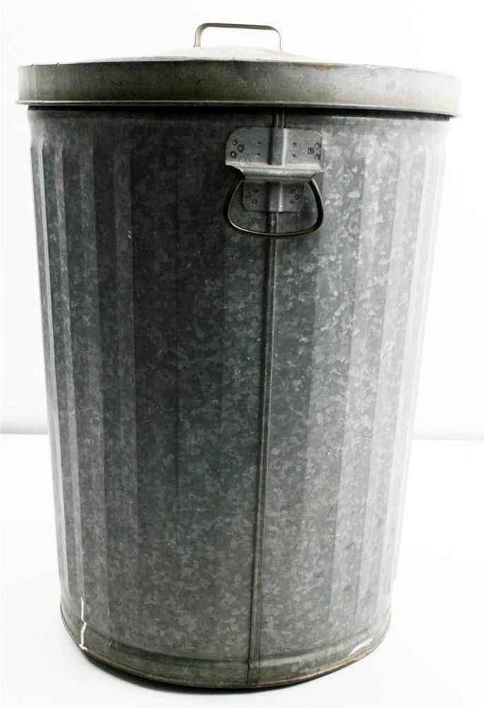 Vtg Trash Can Galvanized W Lid Metal Garbage Waste Bin Industrial Steampunk Loft Garbage Waste Trash Can Canning