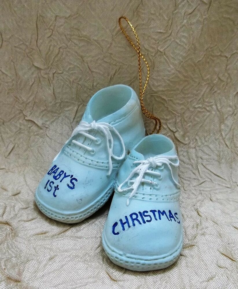 First Christmas 2020 Ornament Resin Baby Boy Shoes Resin First Christmas Ornament Holiday | eBay in