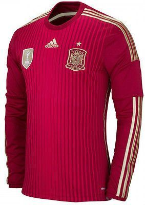 ADIDAS SPAIN LONG SLEEVE HOME JERSEY FIFA WORLD CUP BRAZIL 2014 ESPAÑA  Red/Gold