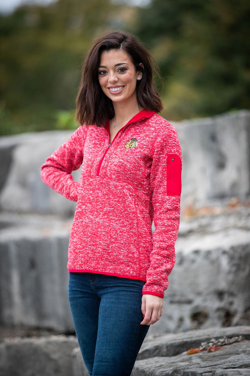 5a5904be9 Sweater weather 💨 Emily is wearing the Antigua Half Zip Pullover ( 105).  Shop this item and more warm weather apparel at the Blackhawks Store!