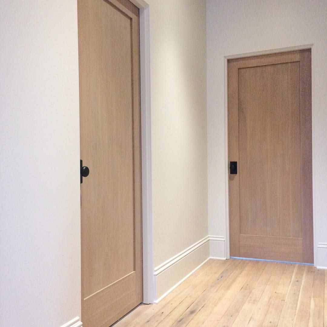 Blonde Floors White Oak Doors Black Hardware Oak