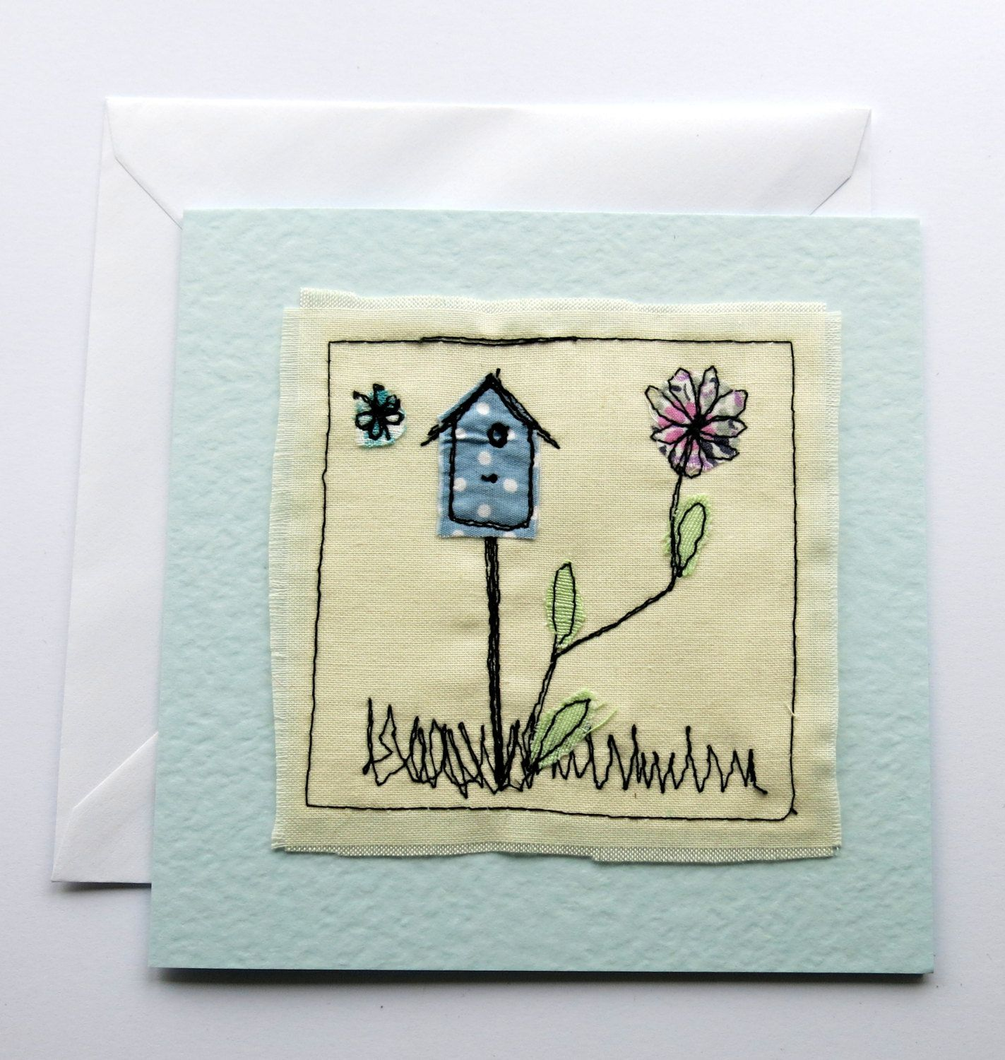 Bird House Card Applique Card Animal Card Stitched Card
