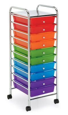 10 Drawer Rolling Storage Cart Large Organization Cart Mobile Organization Plastic Drawers