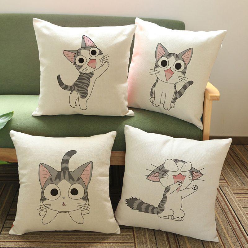 cheap serie de animales gato almohada cojn bordado funda de almohada sof tirou