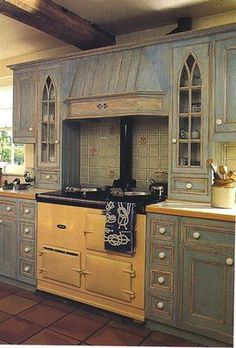 I So Want Gray Cabinets, Iu0027m In Love With These.drooled A Bit Over These  Terrific Cabinets With Gothic Arch Windows