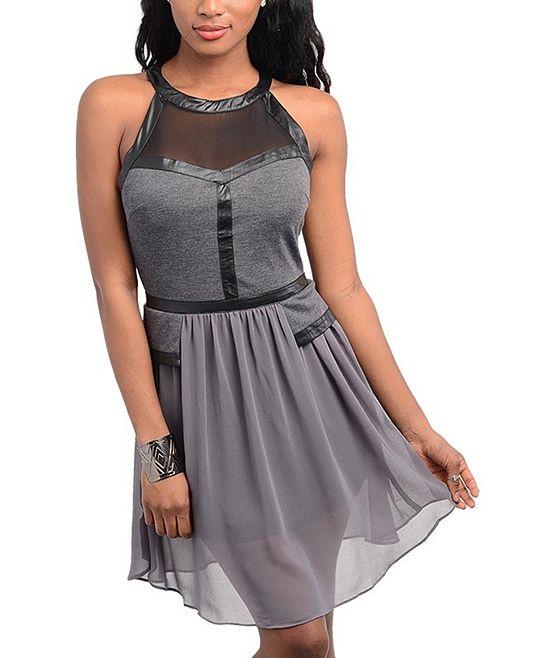 Charcoal & Black Pleather-Trim Chiffon Skater Dress