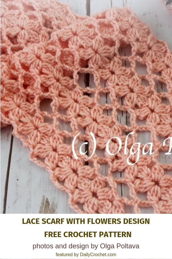 Lacy And Light Flower Scarf Crochet Pattern - Knit And Crochet Daily #crochetscarves