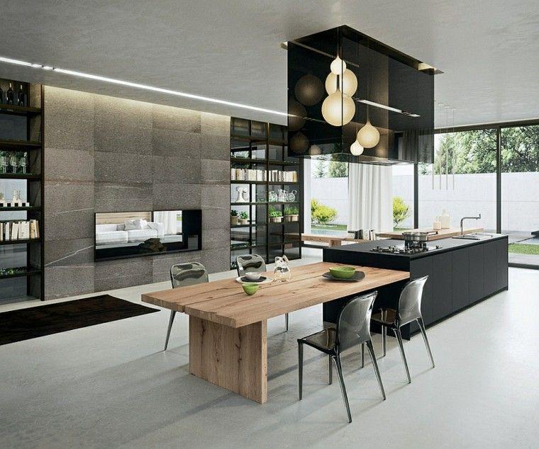 diseo de cocina moderna en negro y madera