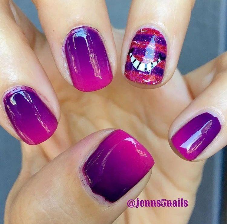 Cheshire Cat Nails Gelnaildesignsforsummer Disneyland Nails