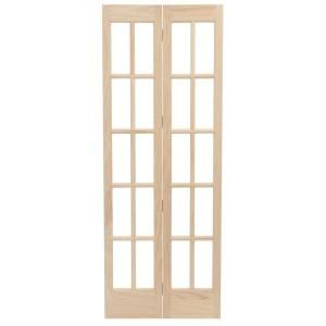 Pinecroft 36 In X 80 In Classic French Glass Wood Universal Reversible Interior Bi Fold Door 872530 Th French Doors Interior Bifold Doors Wood French Doors