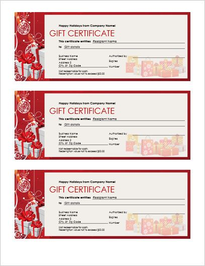 Holiday Gift Certificate with beautiful gift image and colors - daycare invoice template