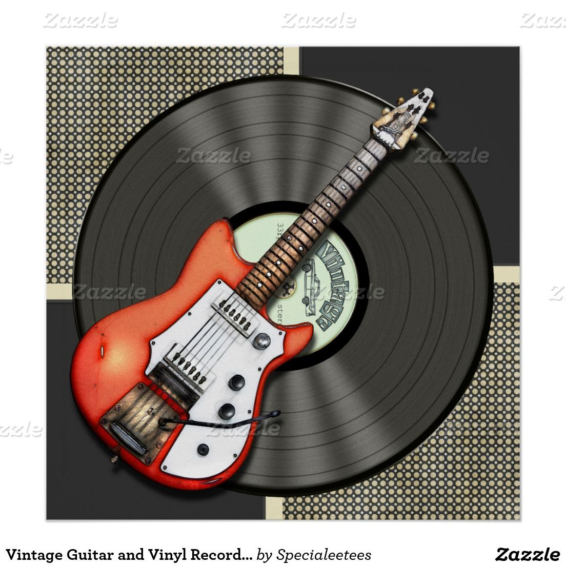 Vintage Guitar and Vinyl Record Poster