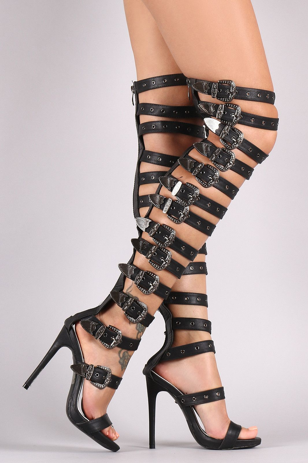 37a1e78ce1e Strappy Buckled Grommets Thigh High Gladiator Heel