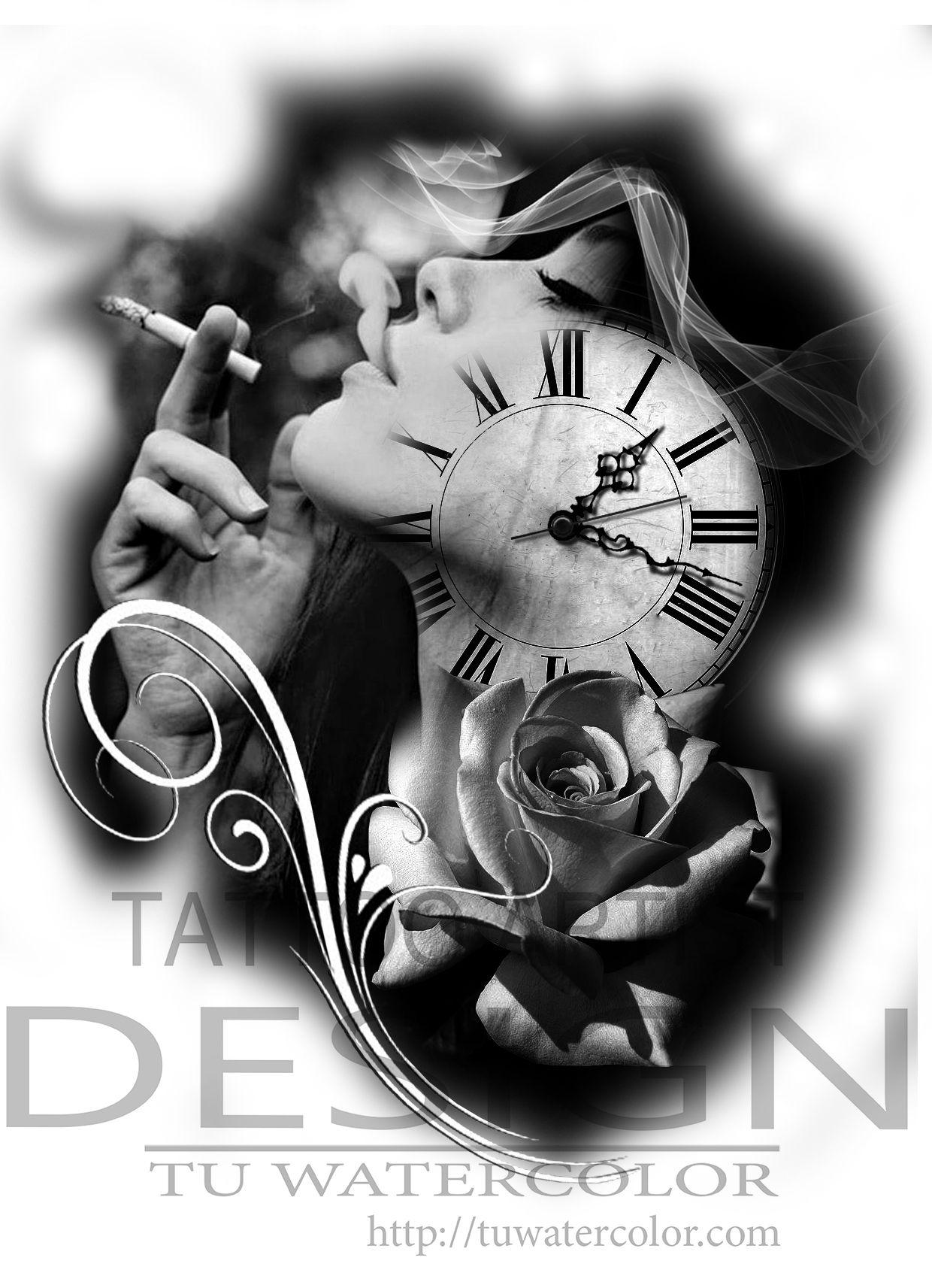 Girl Clock Tattoo Design Tu Watercolor Conceptssss Designs