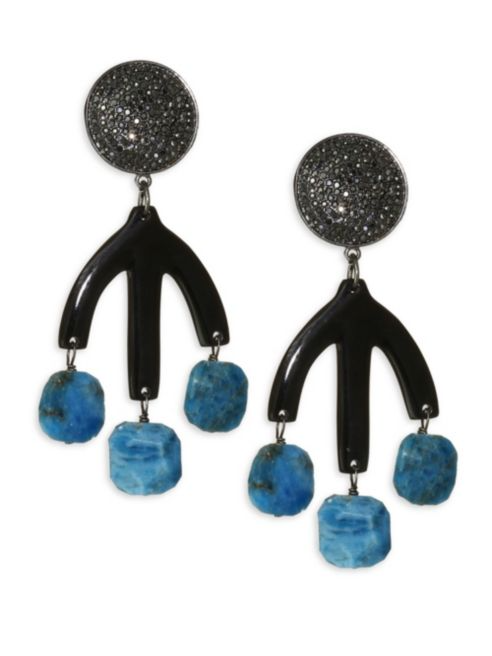 Nest Turquoise & Black Horn Statement Earrings 4B3JOO