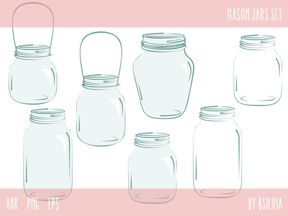 Mason Jars Set Mason Jars Photoshop Brushes Mason Jars Clip Etsy Mason Jar Clip Art Mason Jars Photoshop Brushes