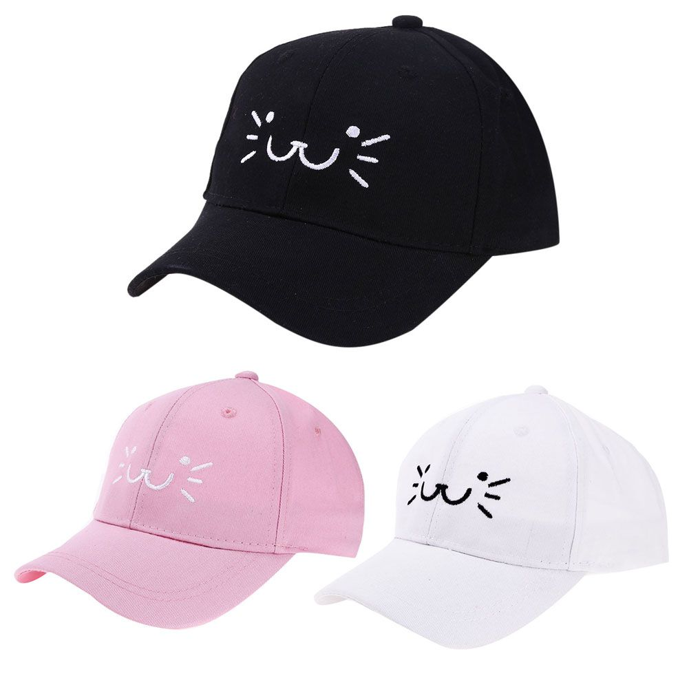 Casual Fashion Cute Baby Cartoon Cat Smiling Face Snapback Hat Unisex Kids  Baseball Cap Baby Girl Boy Sun Hat Infant Cap 4b796ec4974