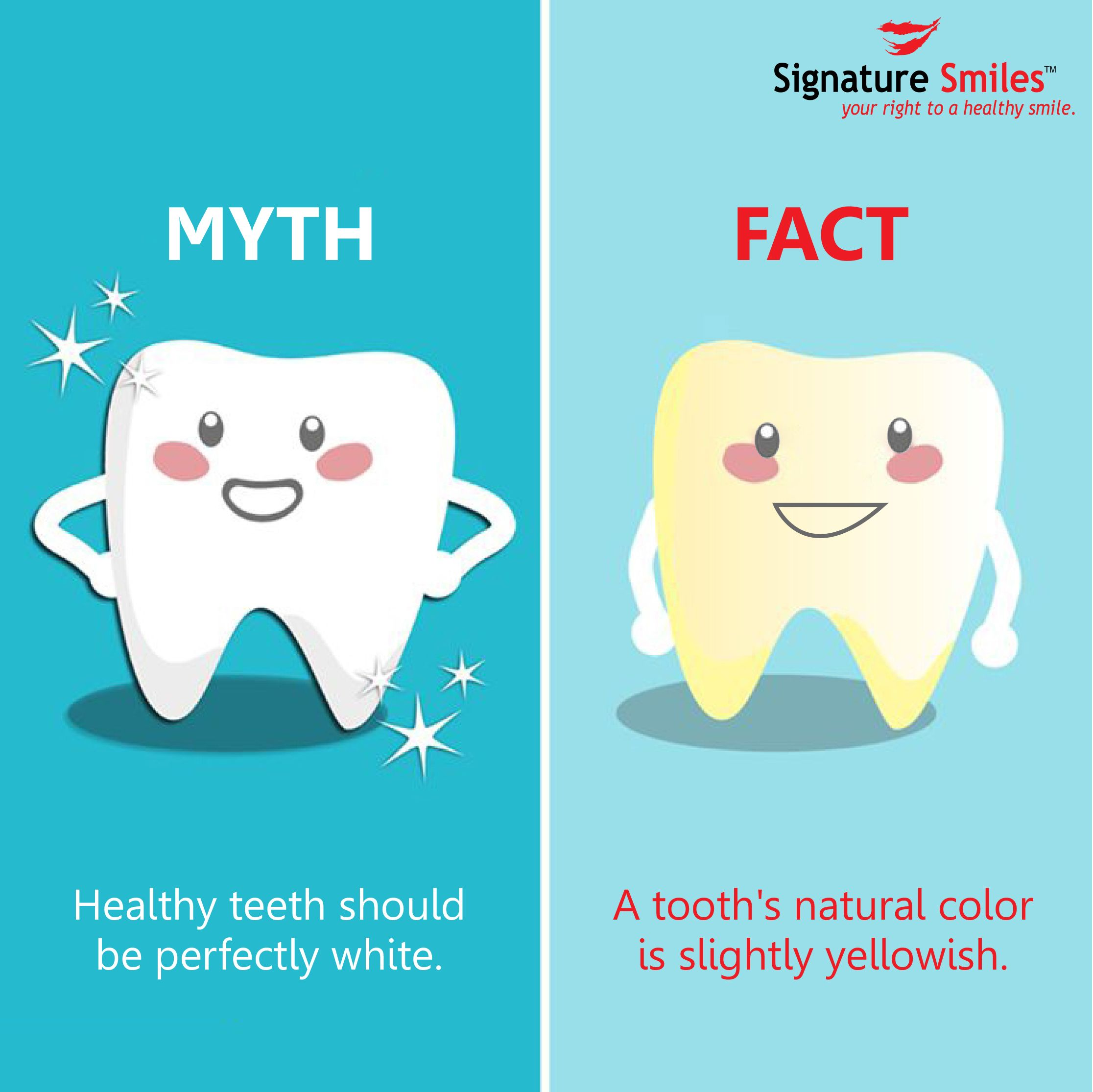 Yellow teeth healthy! Hard to believe? The enamel on ur teeth is naturally a blueish white color & the dentine beneath it is naturally yellow. Since the enamel is translucent, the yellow shows thru the blueish white. #Dental #Facts #dentistry #SignatureSmilesIndia #FridayFacts