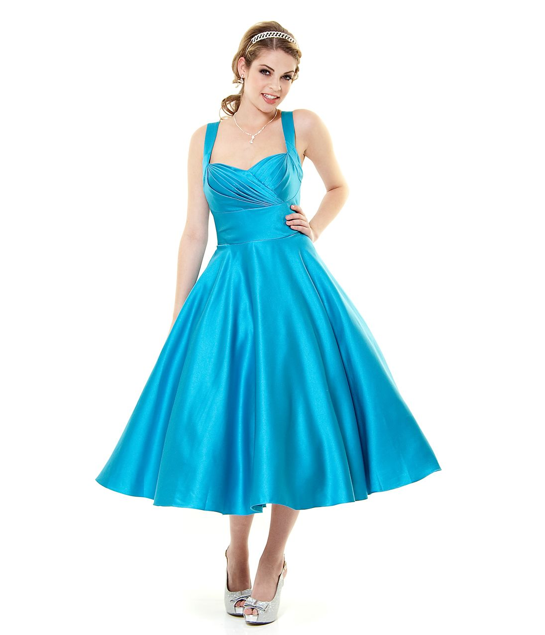 Turquoise satin happily ever after pleated swing dress unique turquoise satin happily ever after pleated swing dress unique vintage prom dresses retro ombrellifo Choice Image