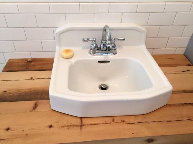 Diy Bathroom Vanity Made Of Hemlock With Vintage Cast Iron Sink