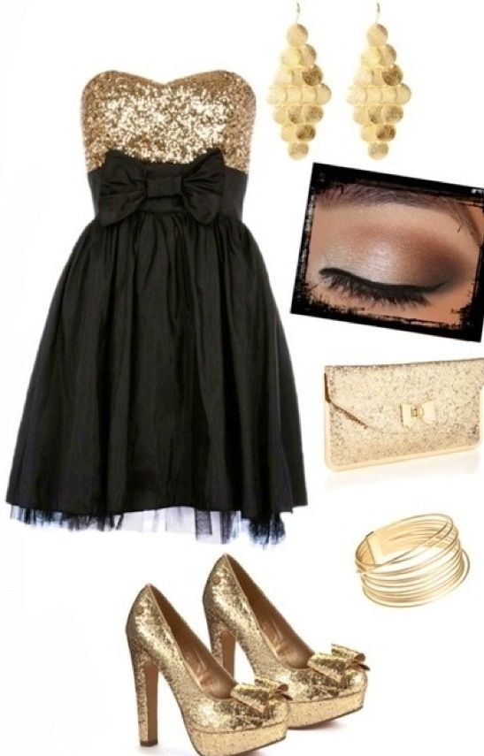 7fc7dd49c50cb4 black and gold outfit- I want something like this for Christmas ...